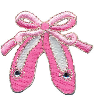 """Wrights Iron-On Appliques-Pink Ballet Slippers 1-1/2""""X1-1/2"""" 1/Pkg"""