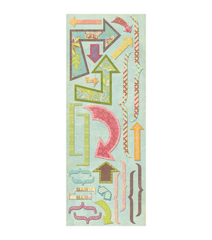 K & Company Wild Raspberry Cardstock Stickers-Brackets & Arrows