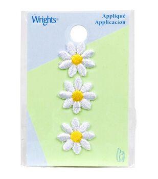 """Wrights Iron-On Appliques-White Daisies 5/8"""" 3/Pkg"""