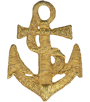 """Wrights Iron-On Appliques-Gold Anchor 1-5/8""""X2"""" 1/Pkg"""