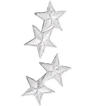 "Wrights Iron-On Appliques-White Star 1-1/4"" 4/Pkg"