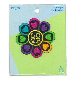 """Wrights Iron-On Appliques-Love Flower 2-3/4"""" 1/Pkg"""