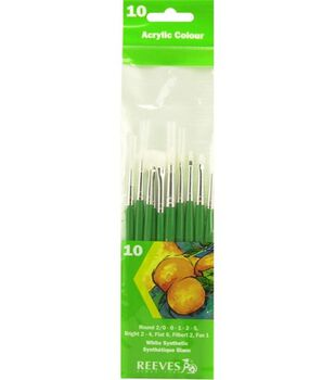 Reeves White Synthetic Brush Set 10Pk