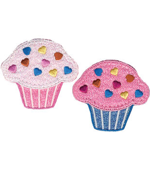 """Wrights Iron-On Appliques-Cupcakes 1-3/4""""X1-7/8"""" 2/Pkg"""
