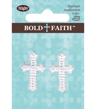 Wrights Bold Faith Iron-On Appliques-White Mini Cross
