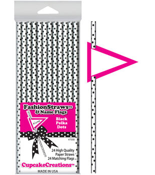 Paper Drinking Straws With Paper Flags  White With Black Dots 24 Pk