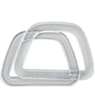 Clover Plastic D-Shaped Handles-Crystal W/Glitter