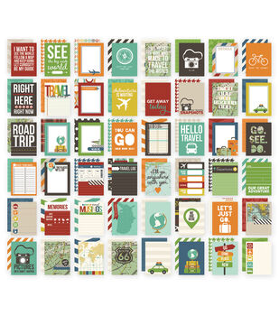 "Sn@p! Double-Sided Card Pack 3""X4"" 48/Pkg-Travel"