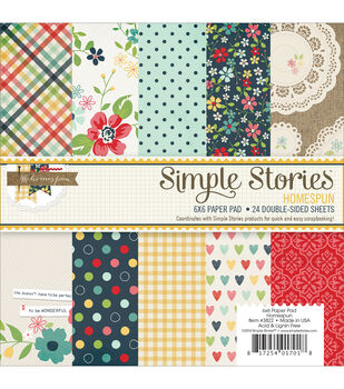 "Homespun paper Pad 6""X6"" 24/Sheets-Double-Sided"
