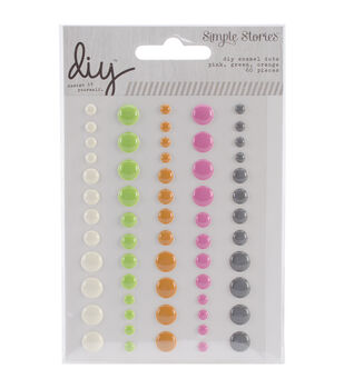 Simple Stories DIY Enamel Dots - Pink, Green & Orange