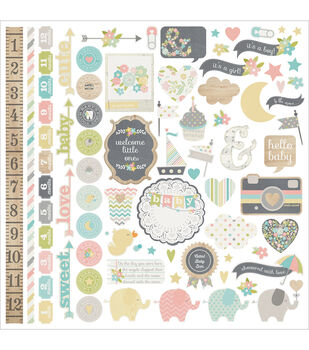 "Hello Baby Cardstock Stickers 12""X12""-Fundamentals"
