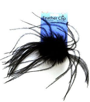 Black Ostrich Feather Clip