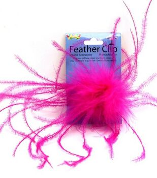 Hot Pink Ostrich Feather Clip