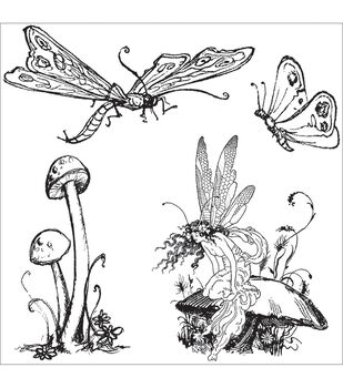 """Graphic 45 Once Upon A Springtime Cling Stamp 4.5""""X4.5""""-3"""
