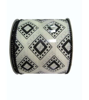 Two and Half In Black and White Diamond Pattern Ribbon