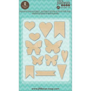 Jillibean Soup Stampables 12/Pkg-Wood Shapes