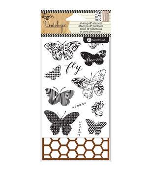 Hampton Art Stamp & Stencil Set-Butterfiles