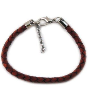 "Silver Creek Bangle Bracelet Braided 7.5"" 1/Pkg-Cognac"