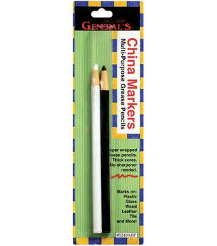 China Marker Multi-Purpose Grease Pencils 2/Pkg-Black & White