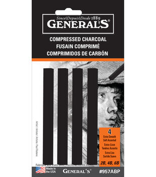 Compressed Charcoal Sticks 4Pk-Black-Soft Assorted