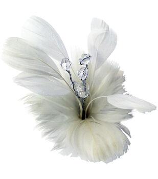 Laliberi Quick Clip Flowers 1/Pkg-White Feather