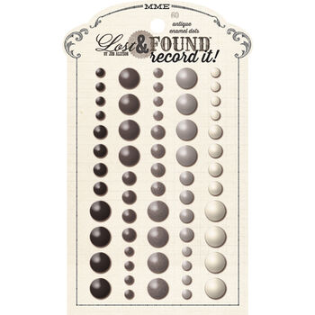 My Mind's Eye Lost & Found Record It! Adhesive Enamel Dots Antique