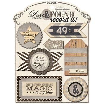 My Mind's Eye Lost & Found Record It! Layered Stickers Antique