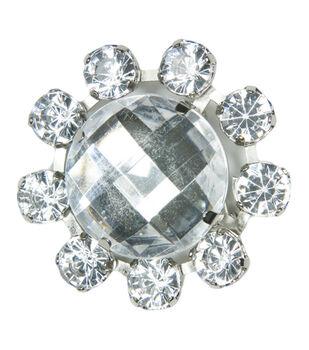 Laliberi Rhinestone Pin - Crystal Cameo in Silver