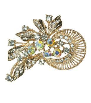 Laliberi Rhinestone Pin - Crystal AB Ribbon Fan in Gold