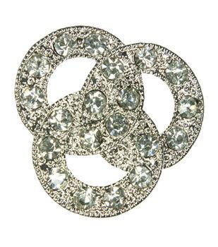 Laliberi Rhinestone Pin - Crystal Circles in Silver
