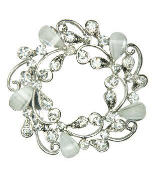 Laliberi Rhinestone Pin - White Wreath in Silver