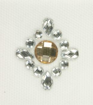 Laliberi Topaz Crest Iron-On-Gem Clusters 3 pack