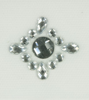 Laliberi Grey Crest Iron-On-Gem Clusters 3 pack