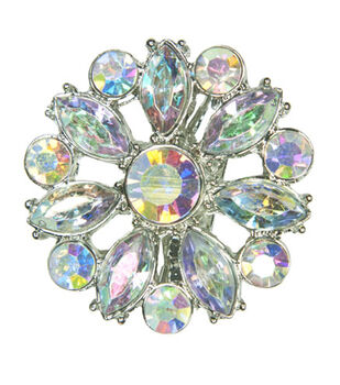Laliberi Winter Knit Small Snowflake Accent Brooch In Ab Crystal