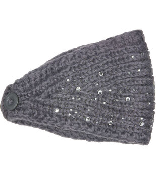 Laliberi Winter Knit Crystal Headwrap In Light Grey