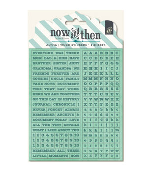 Now & Then Milo Alpha & Word stickers-Documented