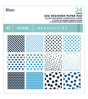 """Necessities Paper Pad 6""""X6"""" 24/Pkg-Blues/12 Double-Sided Designs"""