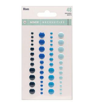 Necessities Adhesive Enamel Dots 48/Pkg-Blues