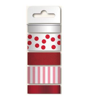 Necessities Decorative Tape 4 Rolls/Pkg-Reds/Glitter, Print & 2 Foil