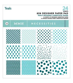 "My Mind's Eye Paper Pad 6""X6"" 24/Pkg-Necessities/Teals"