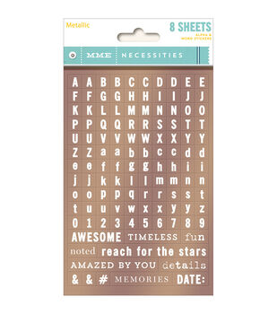 Necessities Tiny Word & Alpha Stickers 8/Sheets-Metallic