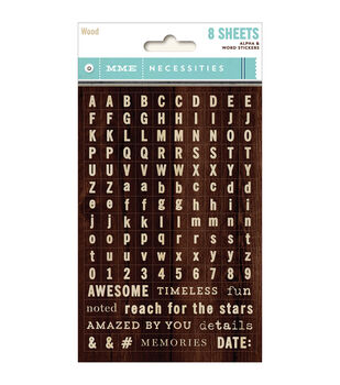 Necessities Tiny Word & Alpha Stickers 8/Sheets-Wood