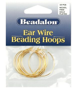 Beadalon 30mm Large Ear Wire Beading Hoops-10PK/Gold Plated