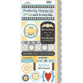 Adorn-It Family Patchwork Cardstock Stickers Perfectly Happy