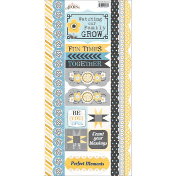 Adorn-It Family Patchwork Cardstock Stickers Family Grows Border