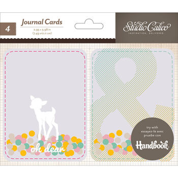 Studio Calico Printshop Stitched Plastic Pockets With Journaling Cards