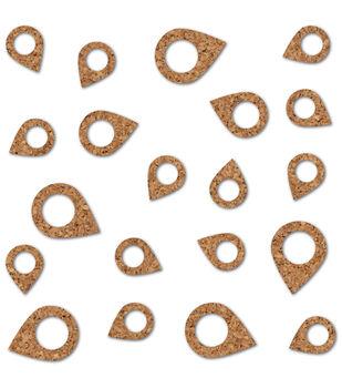 Essentials Cork Shapes-Geotags 25/Pkg