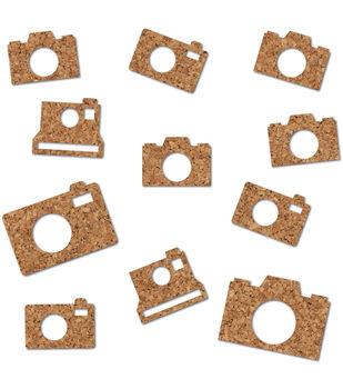 Essentials Cork Shapes-Cameras 11/Pkg