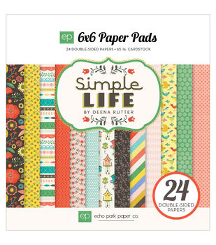 "Echo Park Paper Pad 6""X6"" 24/Pkg-Simple Life"
