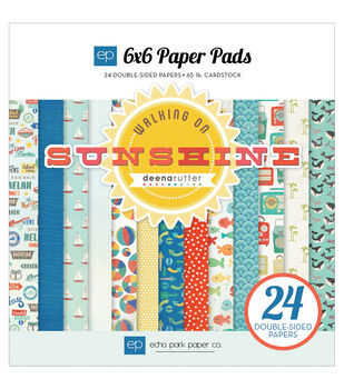 "Echo Park Paper Pad 6""X6"" 24/Pkg-Walking On Sunshine"